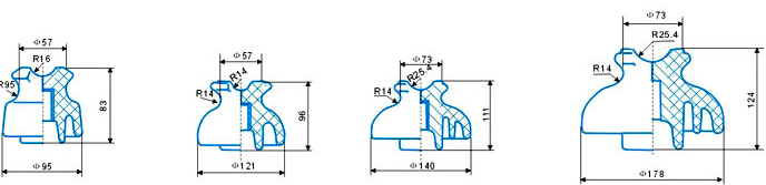 Pin & pin post insulators drawings